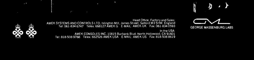 -UK Fax: 061-834 0593 In the USA: AMEK CONSOLES INC, 10815