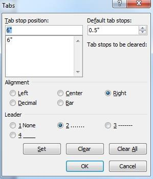 location you enter the tab. You may also format multiple tabs using this interface; to do so, simply type another length in the Tab stop position field.