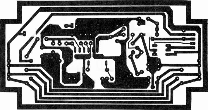 Fig. 3 (right): PCB print pattern, 1:1 scale. Use standard 1/16in. fibreglass, single -sided. Fig. 4 (below): Board drilling diagram. All holes 0.8mm except A 1.2mm and B 3mm.