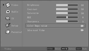 Selection of Color Temperature 1. Press the Menu button, and the Video menu appears. 2.