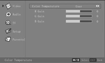 Press the Menu button to exit the OSD Menu, or If you adjust one item of R Gain, G Gain, or B Gain, the color