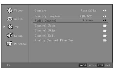 Press the Menu button to exit the OSD Menu, or TV Page Menu (Only for TV) Setting the Country Region 1.
