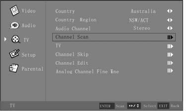 Using the Channel Scan 1. Press the Menu button, and then press or he TV menu appears. 2. Press or Enter button to enter the TV menu. 3.
