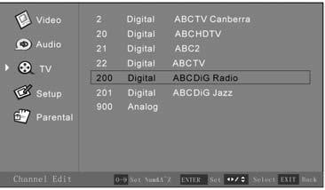 When finished, press the Menu button to exit the OSD Menu, or Channel Edit Submenu Note: for digital channels, only Channel Number and Channel Name information can be changed.