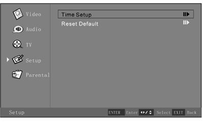 When finished, press the Menu button to exit the OSD Menu, or Time Setup Submenu Selection of Time Zone After entering the Time Setup submenu: 1.