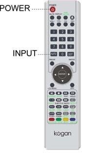 [The power indicator changes from green to red] Selection of Input Mode - Press the Input (AV/TV) button to display the signal source menu.