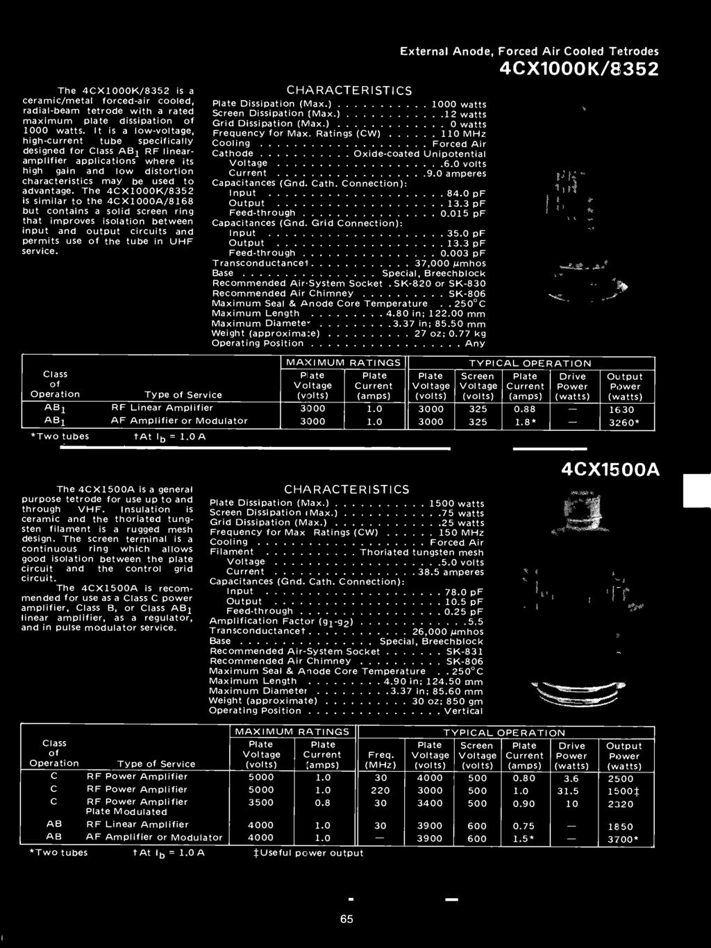 Eimac Power Grid Tubes Quick Reference Catalog 175 Division Ac Wiring Diagram 230e 1986 Circuit And The 4x1000k 8352 Is Similar To 4x1000a 8168 But Contains A Solid Screen