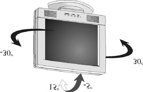 Chapter 1 Adjusting the Viewing Angle Your LCD Monitor is designed to allow you to adjust it to a comfortable viewing angle. The LCD Monitor s angle setting range is from -5 to 15.