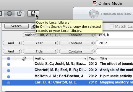 6. Search for references online within EndNote By switching the Mode in EndNote X7 from Local Library Mode (default) to Online Mode, you can search some common databases directly from within your