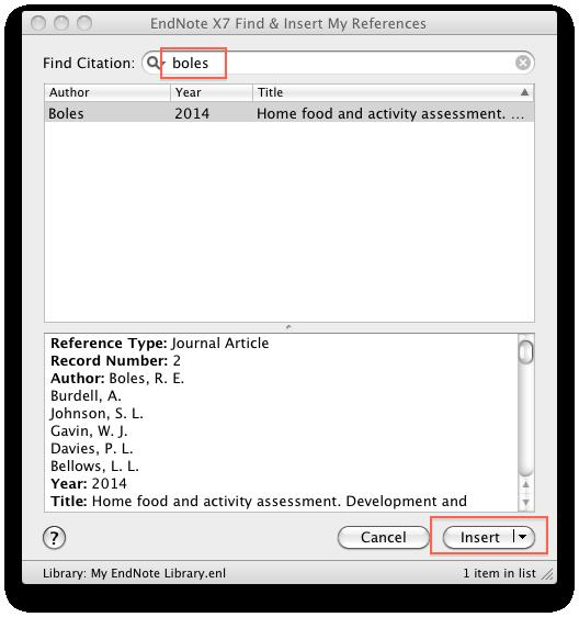 If the toolbar does not appear when you start Word, go to View >> Toolbars >> EndNote X7. Place your cursor where you want to insert a citation. Then click on the Magnifying Glass button.