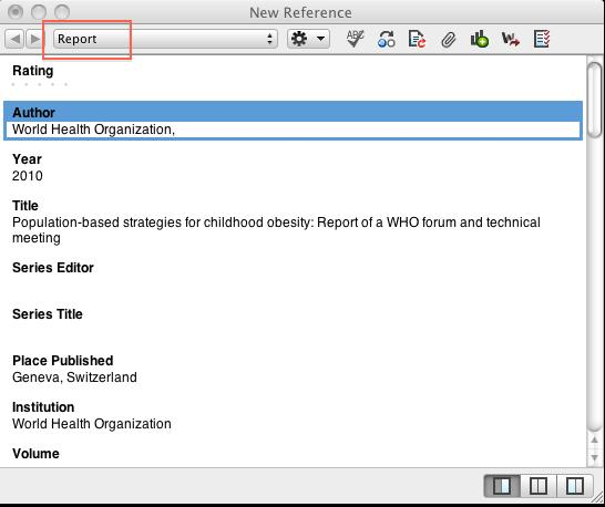 2.c) Add references: Manually Occasionally you may have a reference that you need to put into EndNote that is from a resource that does not have a direct export option (i.e. government documents, reports from organizations like the CDC, WHO, and professional organizations, websites, unpublished works, non- print mediums, etc.