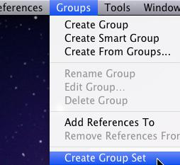 Select the references you want to put in this group, and then Drag & Drop them into the new Group. Group Set To create a Group Set, go to Groups >> Create a Group Set.