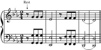 218 the music instinct Figure 7.10 The opening of Beethoven s Fifth Symphony. To hear the rhythm correctly, one has to infer the initial rest. there is a bit clearer.