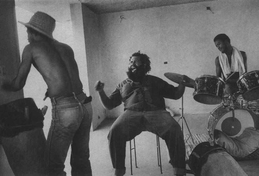 Members of Groupe Sa in their practice space atop Morel s Bakery, Boulevard Jean- Jacques Dessalines, Port-au-Prince, in 1982.