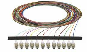Fiber Pigtails - Packs of 12 Fiber packs come in standard lengths or 3 meters and are cut to lengths at the job site.