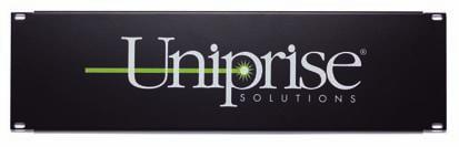 Each filler panel has the Uniprise Solutions logo and is offered in multiple sizes from 1U to 4U.