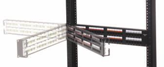 As an example, the Uniprise FTP-MOD-24P panel cannot be used with the hinges because the lower shelf of this panel will not clear the rack uprights when