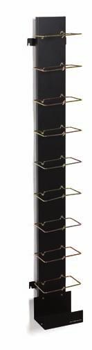 The 110 wiring blocks and cable troughs are mounted on a metal frame and are designed for durability and easy routing of Category 5e and 6 circuits. Lower troughs provide horizontal cable management.