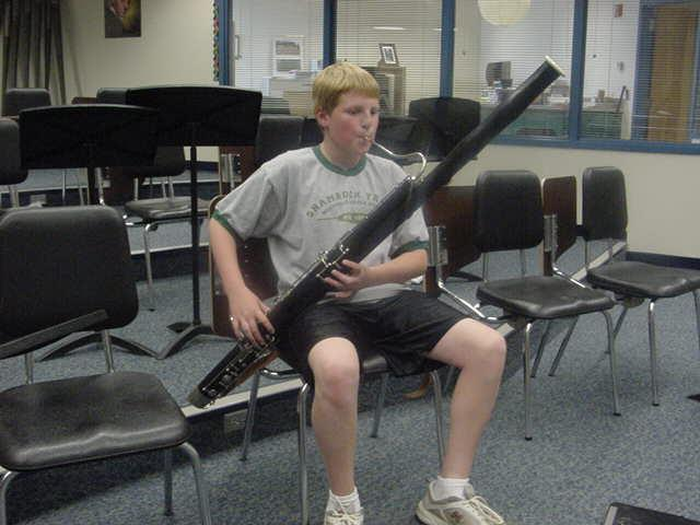 The BASSOON is a very unique instrument. It has a double-reed like the oboe, but the instrument is larger and plays lower notes.