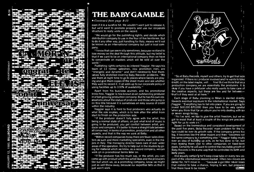 at ``tn iaosi_ill& =_i_r rrr+ione wii ii ONO r,} iit,a..-,. i --at,_- ar. an wee. tao._, - Zak i.h' m.e 7.161.111111' THE BABY GAMBLE continued (i-on-i page B-13 even if it is a surefire hit.