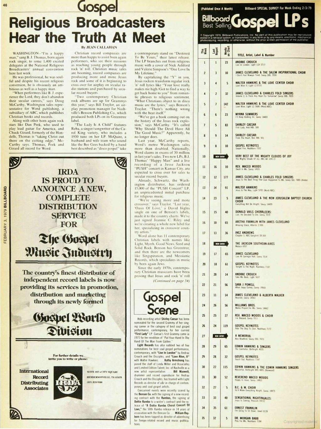 46 Gospel Religious Broadcasters Hear the Truth At Meet (Published Once A Month) Billboard SPECAL SURVEY For Week Ending 2.379 8illbocard Best Sellen 9 c 19 28 87117oa,d puebca6ons nc No parl ol tn.