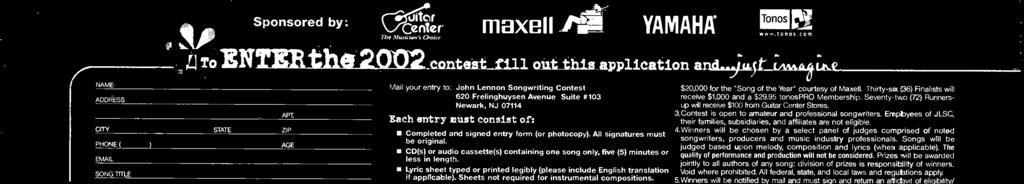 .Contest is open to amateur and professional songwriters. Empbyees of JLSC, their families, subsidiaries, and affiliates are not eligible. 4.