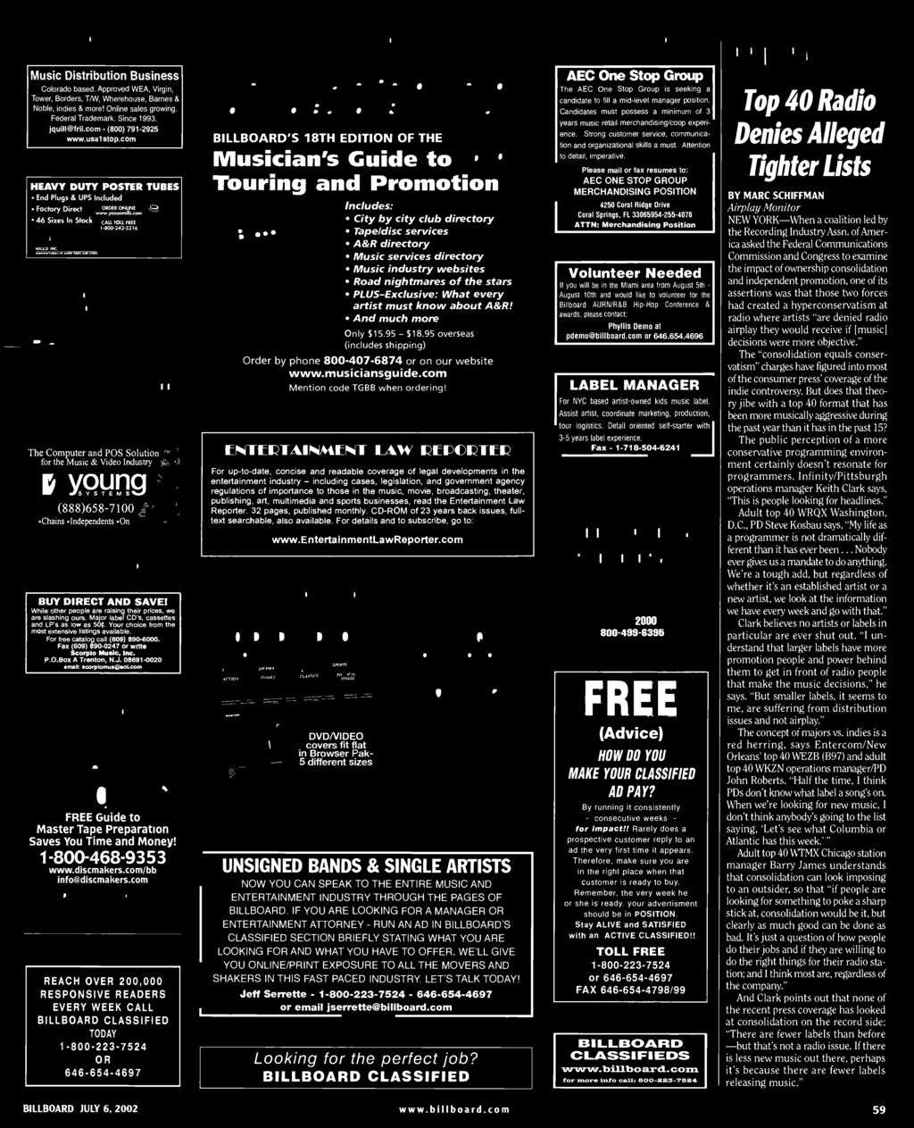 "CD -ROM of years back issues, full - text searchable, also available. For details and to subscribe, go to: www.entertainmentlawreporter.com *BROWSER"" DISPLAY SYSTEMS* 0 DVD /VIDEO TITLES in SQ. FT."