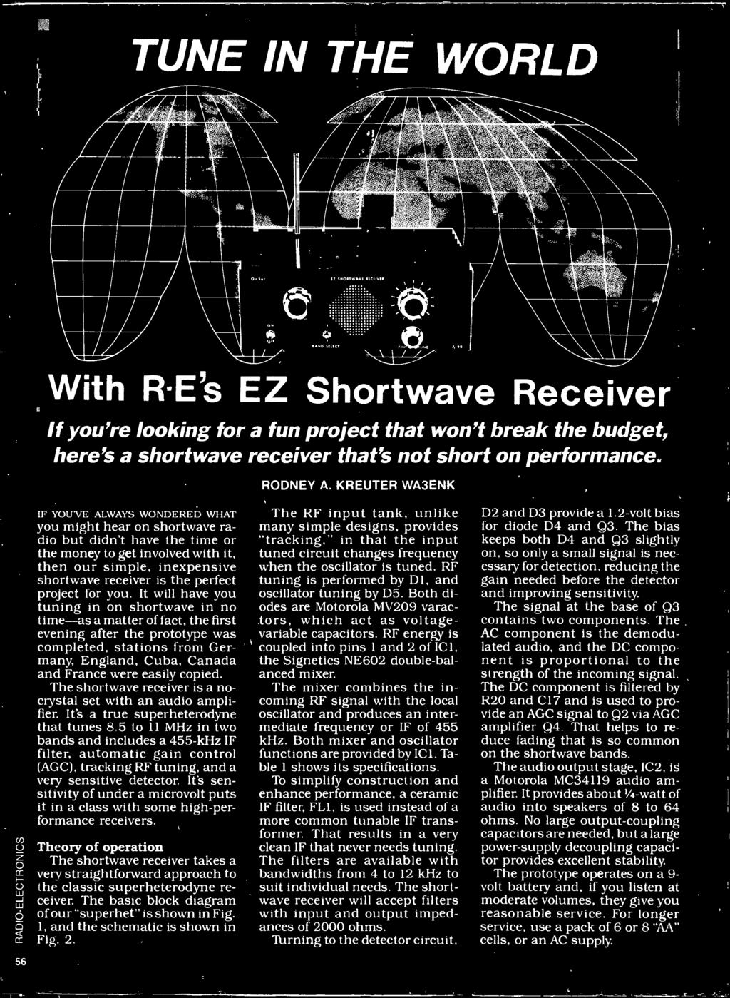 The shortwave receiver is a no - crystal set with an audio amplifier. It's a true superheterodyne that tunes 8.