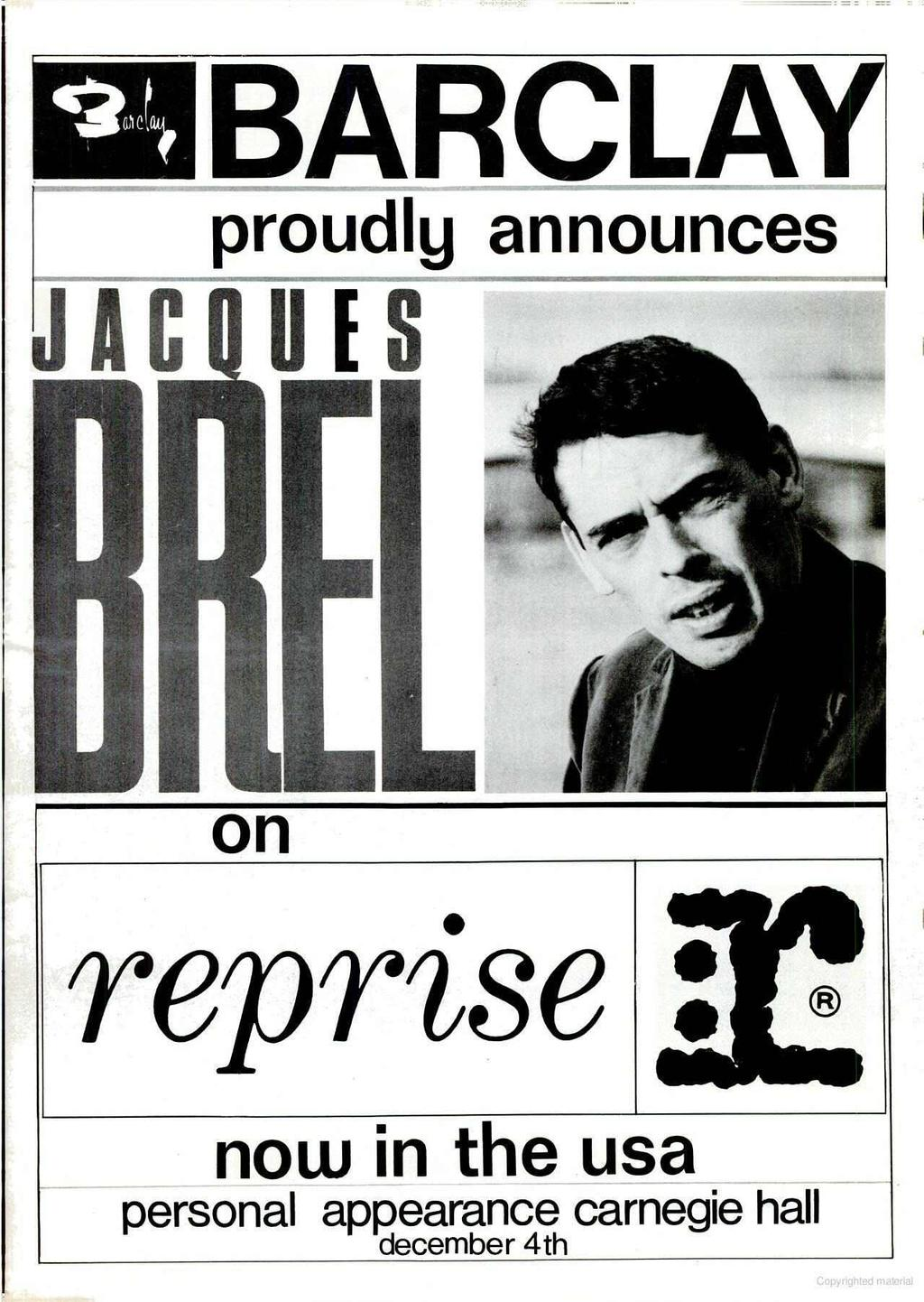 MO 1ARCLAY proudly announces J A Ç on reprise