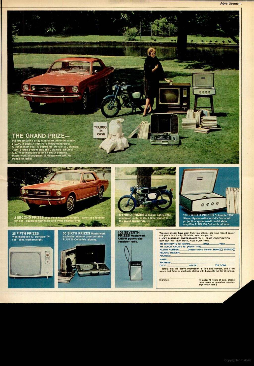 Advertisement THE GRAND PRIZE this breathtaking array of gifts for the entire family: 510.000 in cash! A 1966 Ford Mustang hardtop! A ranch mink coat! A Suzuki motorcycle!