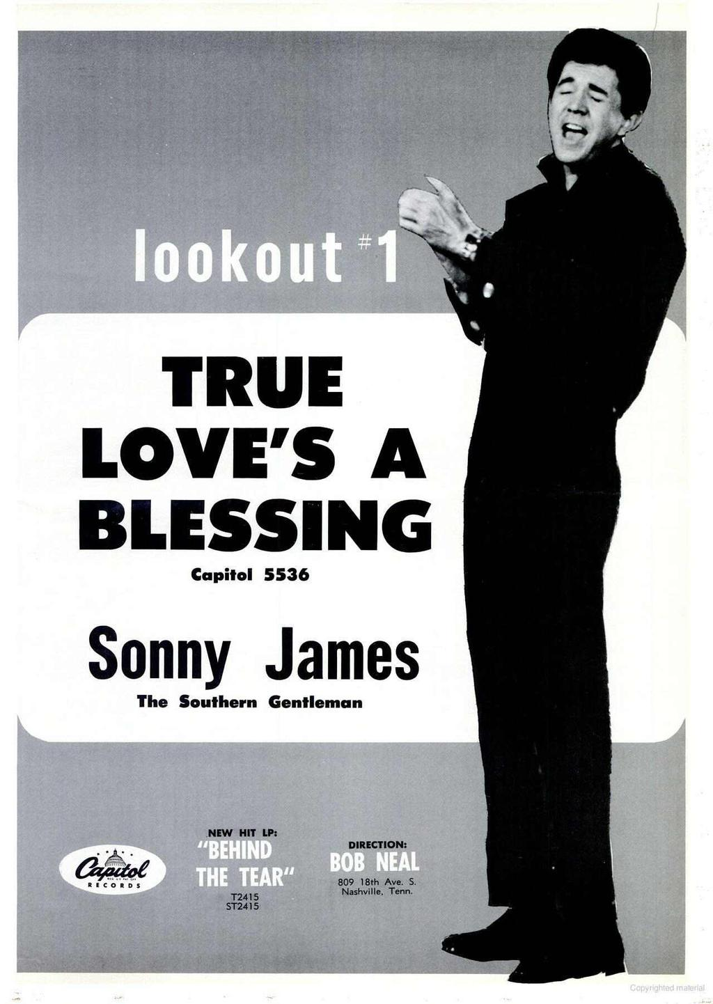 TRUE LOVE'S A BLESSING Capitol 5536 S onn Y James The Southern Gentleman