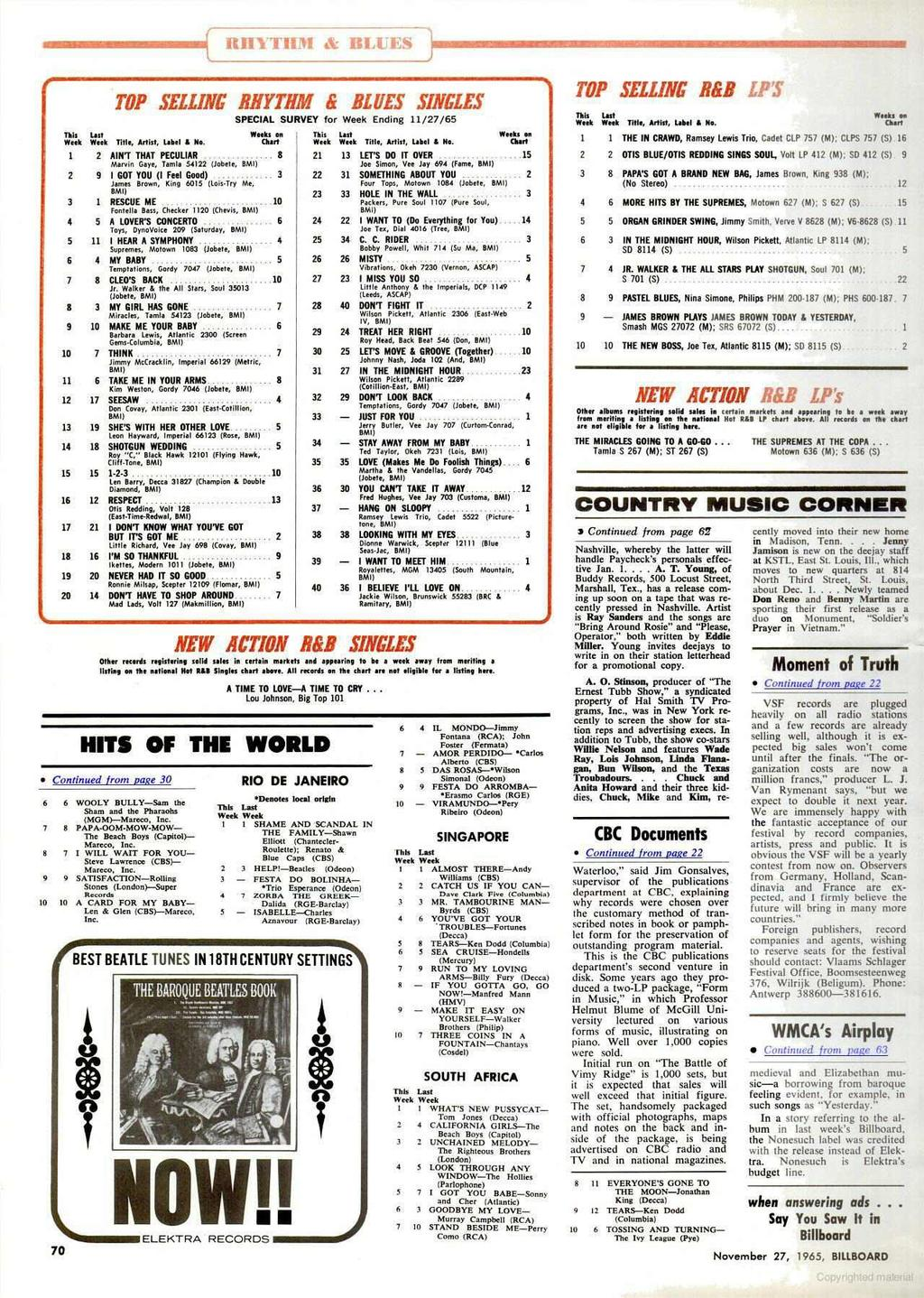 RHYTHM & BLUES, Tis Week use Week TOP SELLING' RHYTHM & Title, Artist, Label i No. BLUES SINGLES SPECIAL SURVEY for Week Ending 11/27/65 Weepart k s on This Week Last Week Title, Artist, Label i No.