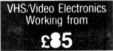 t E E SAVE POUNDS 8940 VHS Stereo Videos for Spares 45 VHS/Video Mechanical Working from 55 VHSVideo Electronics Working from 85 Colour TV from 5 WE ACTUALLY CARRY STOCK WORKING AND GENUINE UNTESTED