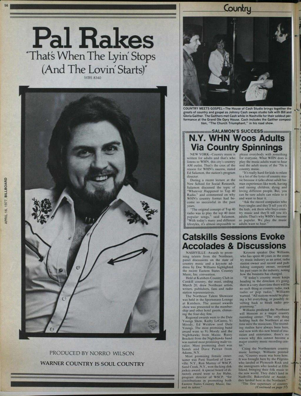 "6 Country Pal Rakes ""That When The Lyin' Stops (And The Lovin' Starts)"" WBS 840 COUNTRY MEETS GOSPEL -The House of Cash Studio brings together the greats of country and gospel as Johnny Cash swaps"