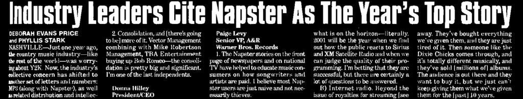 Country Industry Leaders Cite Napster As The Year's Top Story DEBORAH EVANS PRICE PHYLLIS STARK V IL LE -lust one year ago, country music industry-like rest of the world -was worrying about Y2IL Now