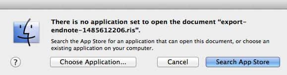 Some Macs will not automatically choose EndNote as the default software to open.ris or.