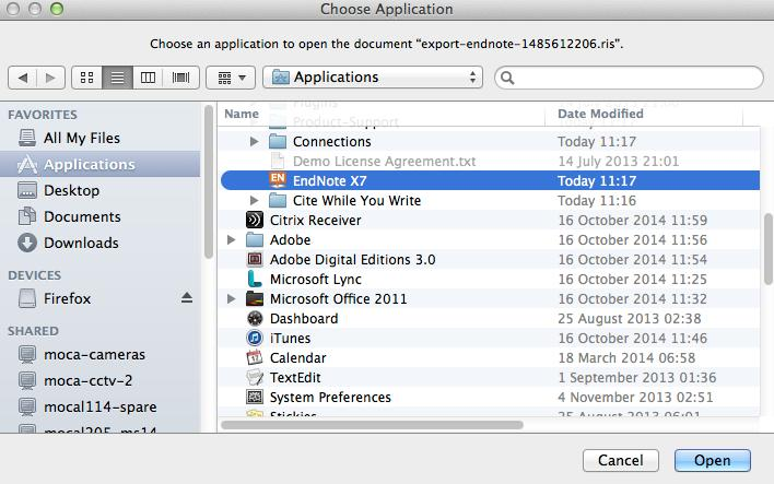 the Applications Folder Exercise 9.2 Making EndNote the default program for.ris &.