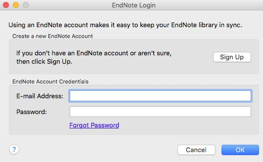 Getting started with EndNote X7 (Mac) The first time you do this you will need to provide details of your EndNote Web account.