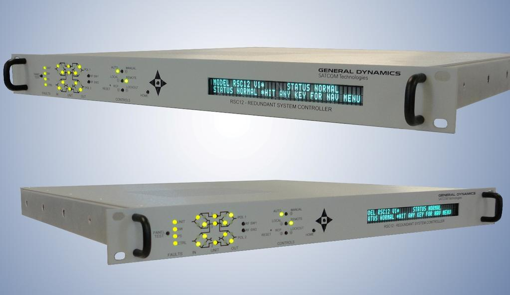 Redundant System Controller 1:2 Redundant System Controller, Model RSC12V1-AC The RSC series redundant system controllers for 1:1 and 1:2 systems directly power the LNBs and monitor the output
