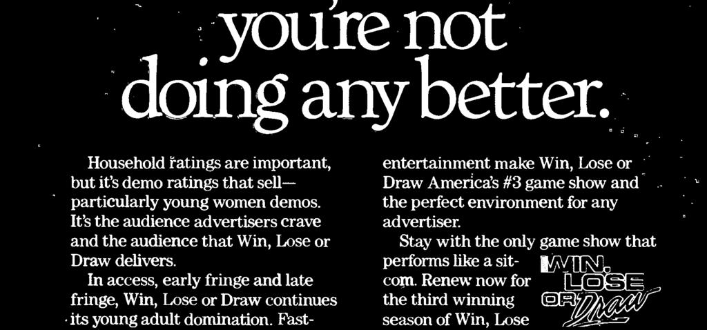 entertainment make Win, Lose or Draw