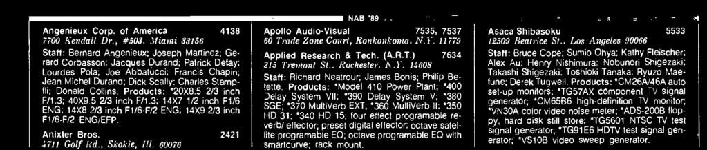 TOTAL 46,000 CONTIGUOUS SQ. FT. NAB '89 Apollo Audio-Visual 7535, 7537 60 Trade Zone Court, Ronkonkoma, N.Y. 11779 Applied Research & Tech. (A.R.T.) 7634 215 Tremont St., Rochester, N.Y. 14608 Staff: Richard Neatrour; James Bonis; Philip Betette.