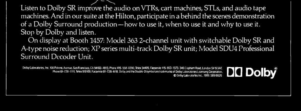 -track Dolby SR unit; Model SDU4 Professional Surround Decoder