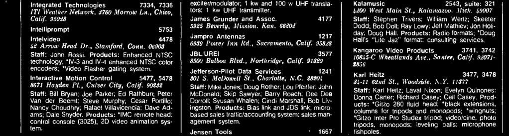 Products: `ITS -10A VHF exciter/ modulator; 'ITS- 1610D/1657D transmitter; UHF exciter /modulator; 1 kw and 100 w UHF translators: 1 kw UHF transmitter. James Grunder and Assoc. 4177 592.