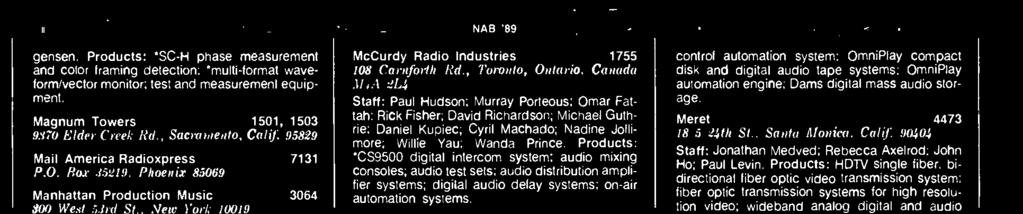 automation systems. optic transmission systems for high resolu-.nn) West 5.brl St.. New York 10019 lion video; wideband analog digital and audio MCL A115 data. Marconi Communication 4338 5o1 S.