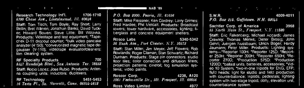 Rosco Labs 5340-5342 36 Bush Ave., Port Chester, N.Y. 10573 Staff: Stan Miller; Jim Meyer; Jeff Flowers; Rob Rowlands; Roger Claman: Stan Schwartz; Richard Dunham.