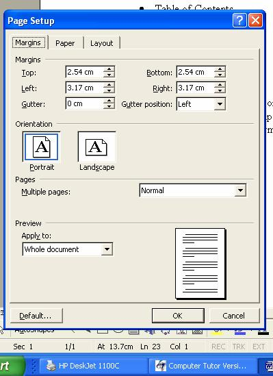 Page Setup PageSetup is used to set page margins page orientation (portrait or landscape) some printing options (paper size and printer tray source) section options (apply formatting to one section