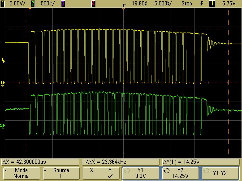 (yellow) and AWG waveform (green) after import.