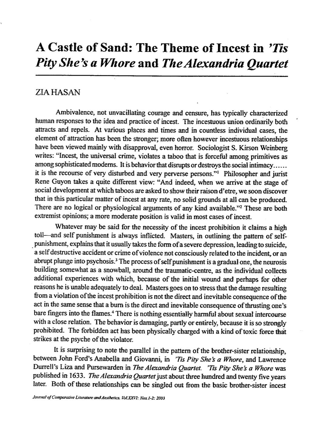 A Castle of Sand: The Theme of Incest in 'Tis Pity She x a Whore and TheAlexandria Quartet ZIAHASAN Ambivalence, not unvacillating courage and censure, has typically characterized human responses to