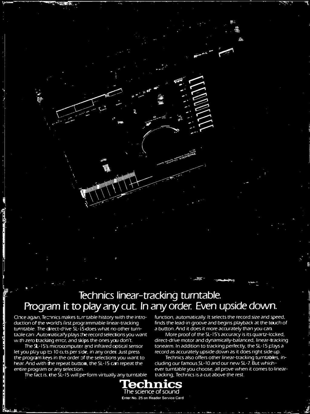 And with the repeat button, the SL -15 can repeat the entire program or any selection. The fact is. the SL -15 will pe -form virtually any turntable Technics The science of sound Enter No.