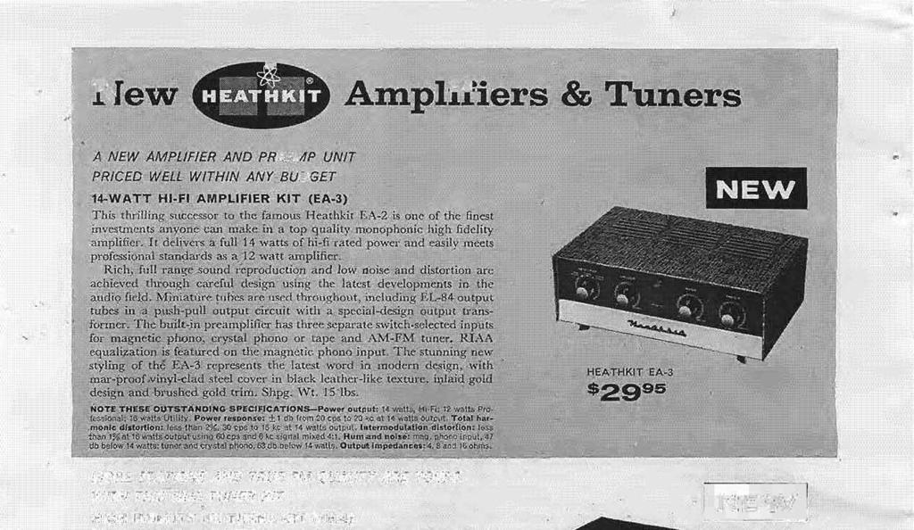 A:mplifiers '& 'runers A NEW AMPLIFIER AND PREAMP UNIT PRICED WELL WITHIN ANY BUDGET 14-WATT HI-FI AMPLIFIER KIT (EA.